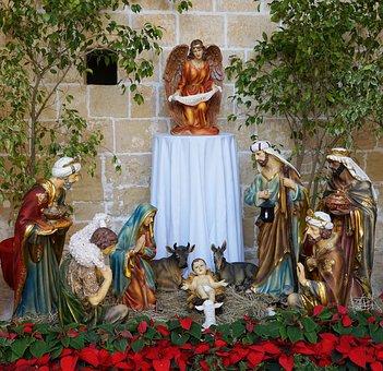 Crib, Christmas, Malta, Jesus, Maria, Birth, Angel