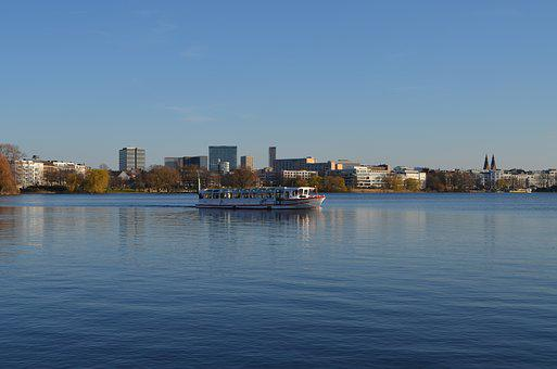 Alster, Hamburg, Alsterdampfer, Water, Lake, Bank, Ship