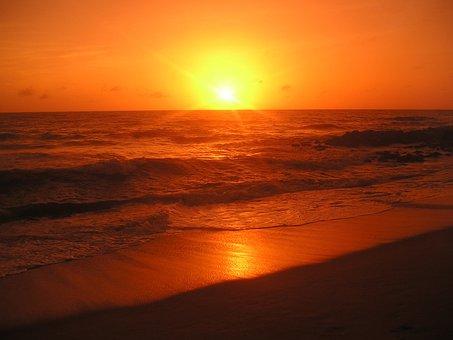 Sunset, Beach, Sri Lanka, Ocean, Indian Ocean, Water
