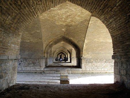 Iran, Esfahan, Bridge, Landmark, Architecture, Building