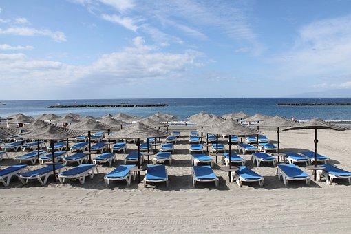 Sunbeds, La Caleta, Tenerife, Beach, Canary, Europe