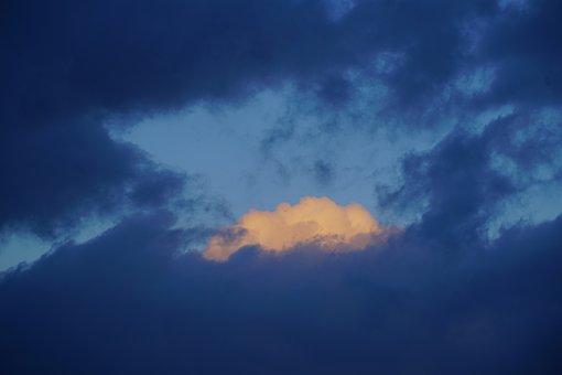 Cloud, Illuminated, Blue, Orange, Yellow, Sky