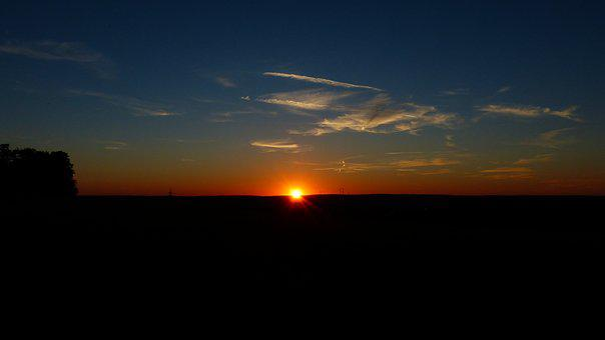 Sunset, Sky, Clouds, Sun, Fireball, Sonnenkugel, Glow