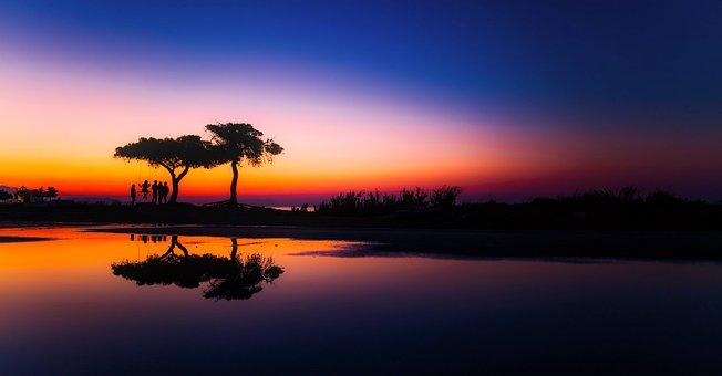 Greece, Panorama, Sunset, Dusk, Beautiful, Lake, Water