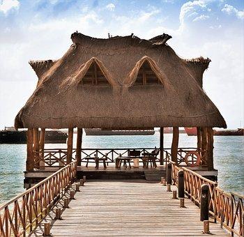 House, Cabin, Casita, Hut, Port, Wood, Sea, Mexico