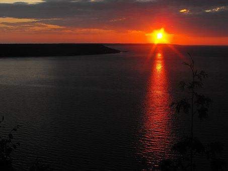 Sun, Set, Red, Waters, Sky, Nature, Light, Landscape