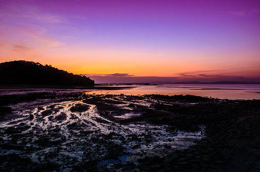 Sunset, The Sea, Violet, Sky, Water, Gold, Light