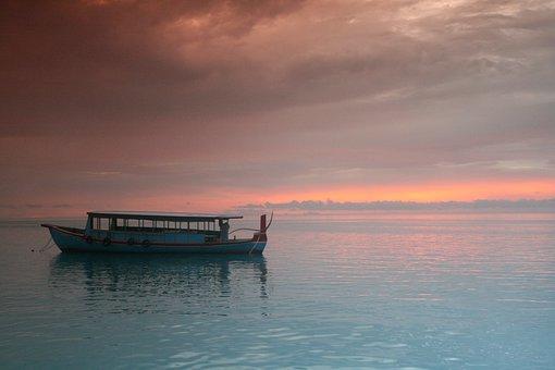 Maldives, Indian Ocean, Sunset, Ocean, Sea, Tropical