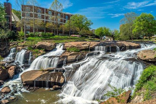 Greenville, Falls Park, Waterfall, Carolina, Nature