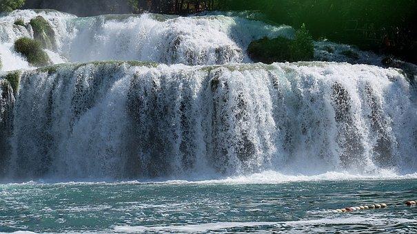 River, Waterfall, Tree, Nature, Beautiful, View, Summer