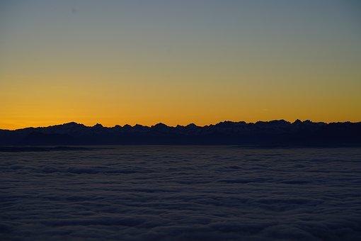 Sunrise, Selva Marine, Clouds, Sea Of Fog, Fog Lights