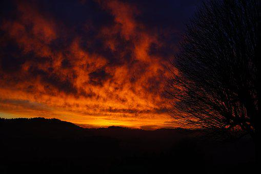 Sunset, Sky, Abendstimmung, Evening Sky, Fiery, Red