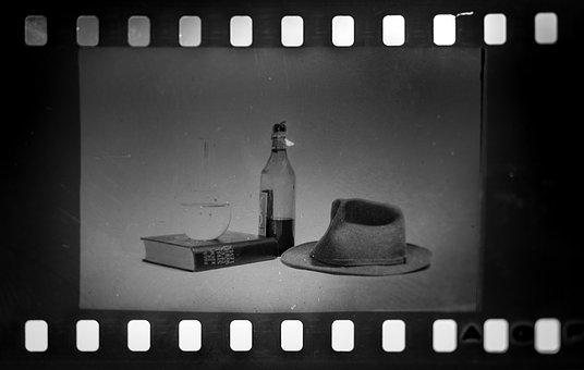Black And White, Slide, Hat, Booze, Liquor, Book, Glass