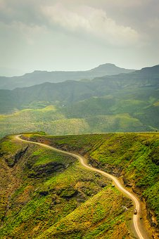 Ethiopia, Mountains, Road, Valley, Sky, Clouds