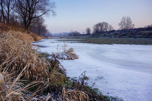 River, Frozen River, Winter, Ice, Landscape, Riverbank