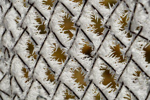 Wire Mesh Fence, Fence, Hoarfrost, Snow Crystals, Iced