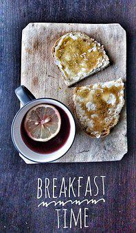 Breakfast, Tea, Honey, Lemon, Wood, Bread, Butter