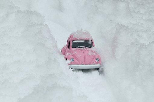 Bug, Vw, Car, Pink, Snow, Snowy Road, Winter, Model