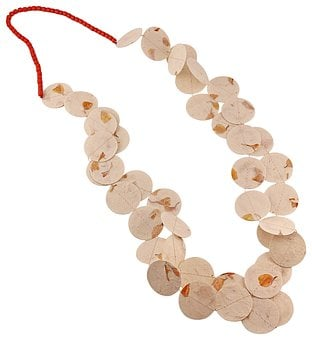 Paper Necklace, Handmade, Circles, Beads