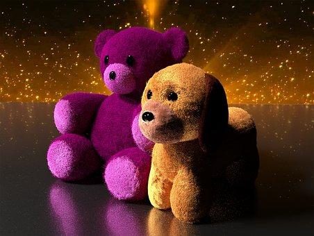 Teddy Bear, Puppy, Toys, Pink, Cute, Stuffed, Animal