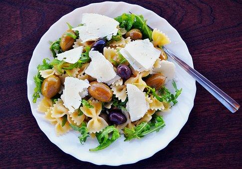 Pasta Salad, Olives, Feta Cheese, Arugula