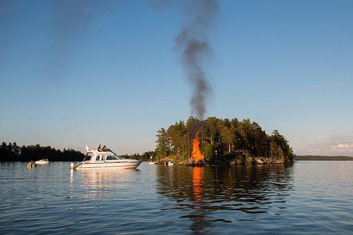 Lake, Summer, Midsummer, Finnish, Landscape, Boat