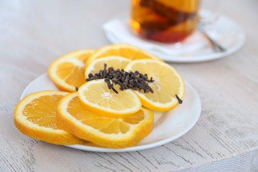Saucer, Fruit, Citrus, Oranges, Lemon, Cloves, Tea