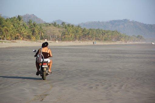 Costa Rica, Beach, Motorcycle, Human, Localc, Ride
