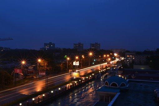 City, Night, Khabarovsk, Night City, Sussia, Lights