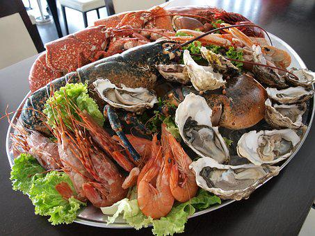 Oysters, Prawns, Clams, Crab, Fish, Restaurant, Seafood