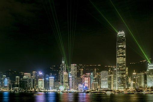 Laser, Skyline, Harbor, Skyscraper, Waterfront