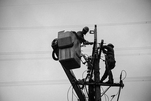 Wiring Hardness, Electric Post, Wire And Cables, Worker