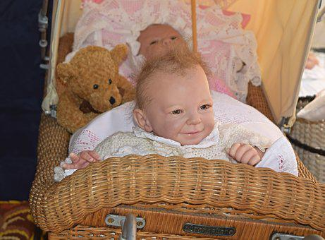 Old Stroller, Doll, Baby, Artist Doll, Sweet, Close Up