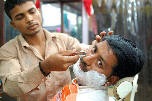 Barber, Street, India, Rural, Male, Outdoors, Scalpel
