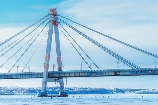 Russia, Bridge, Lake, River, Frozen, Sky, Clouds