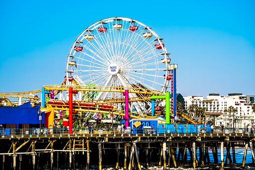 Santa Monica Pier, Santa Monica, California, Beach, Usa