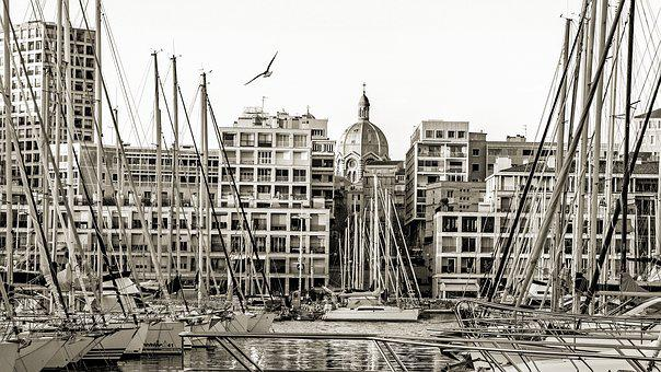 Marseille, France, Harbour, Boat, Sailboat, Cathedral