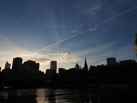Melbourne, Skyline, Sunset, Australia, City, Cityscape