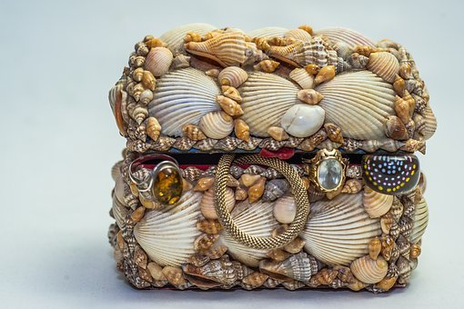 Treasure Chest, Jewellry, Mussels, Gold, Silver