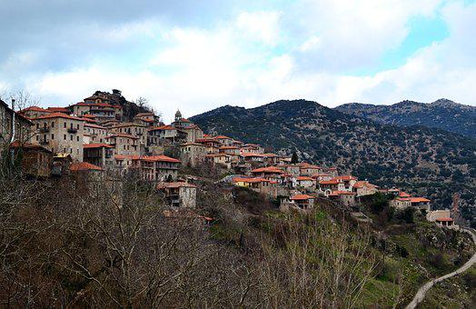 Mountain Village Panorama, Greece, Dimitsana, Landscape