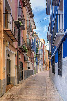 Travel, Road, Homes, Alley, Colorful, Village, Balcony