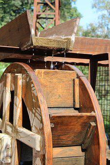 Water, Wheel, Wet, Vintage, Old, Wooden, Mill, Drop