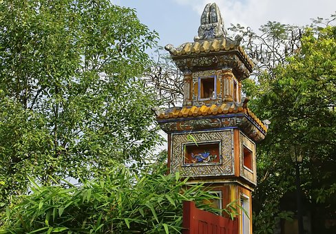 Viet Nam, Booed, Palace, Imperial, Sentry Box, Color