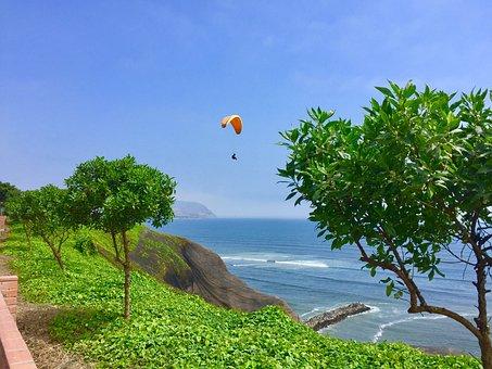 Lima, Peru, Paragliding, Miraflores, Beauty, Green