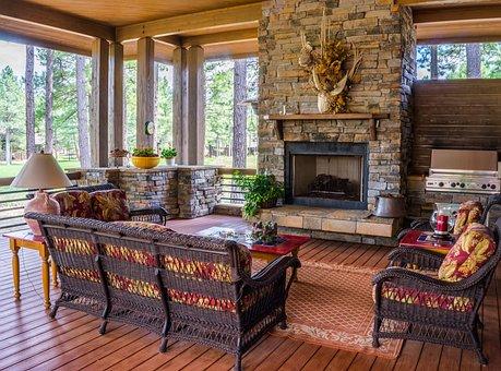 Porch, Fireplace, Design, House, Furniture, Deck, Cozy