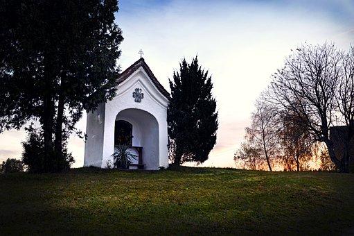 Chapel, Sky, Church, Landscape, Bavaria, Autumn
