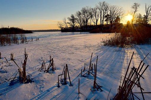 Frozen, Lake, Sunrise, Winter, Ice, Snow, Water