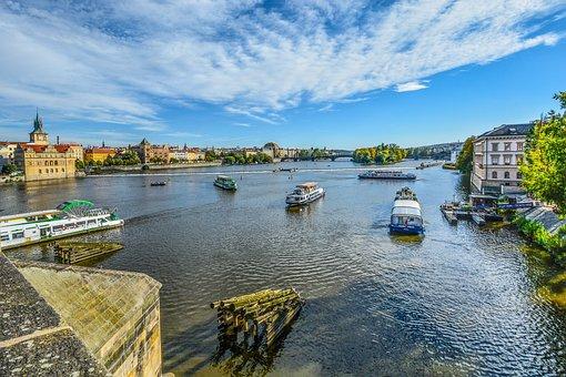 Prague, River, Boats, Scenic, Church, Vltava, Medieval