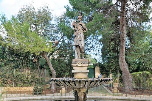 Fountain, Sculpture, Woman, Water