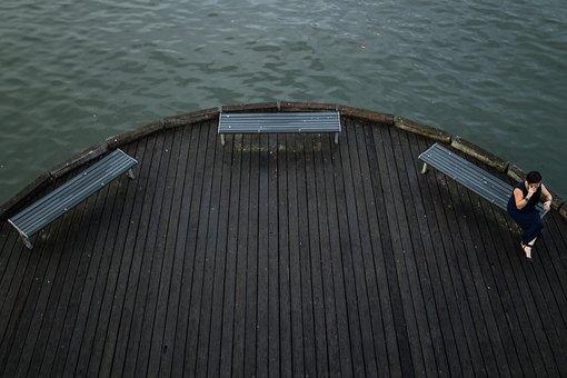 Deck, Water, Seats, Pier, Harbour, Dark Light, Lonely